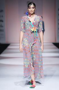 Multi-colored wrap maxi dress