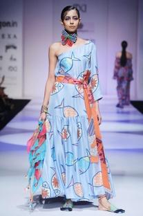 Sky blue fish print dress