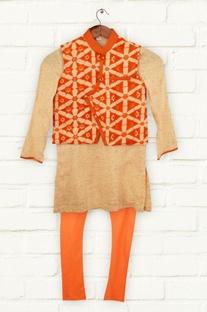 Orange printed kurta set