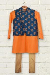Blue printed kurta set