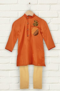 Orange pineapple motif kurta