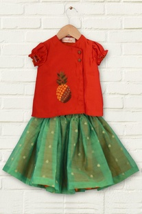 Red kurta with green tutu skirt
