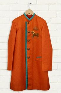 Rust orange horse motif sherwani