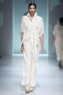White jumpsuit with tie-up waist detailing