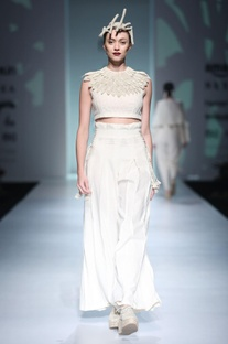 White embroidered top & corset trousers