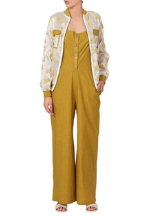 Yellow linen jumpsuit & floral bomber jacket