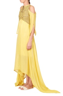 Yellow asymmetric maxi dress