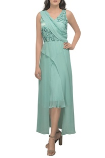 Mint green hand embroidered dress