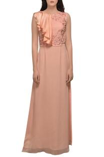 Peach high slit gown