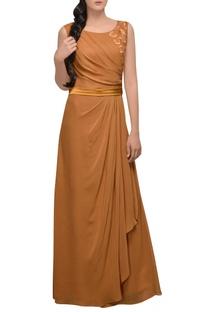 Burnt orange gown with slit