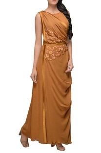 Burnt orange draped gown