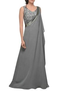 Grey one shoulder drape gown
