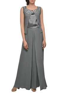 Grey one shoulder drape gown