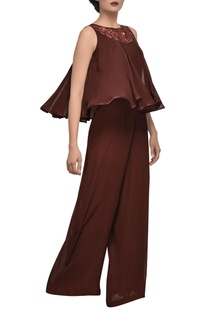 Burgundy brown embroidered jumpsuit