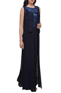 Indigo blue double layer jumpsuit