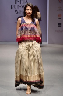Multicolored striped pleated lehenga