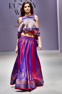 Multicolored flared lehenga & asymmetric top