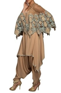Beige & blue applique embroidered cape