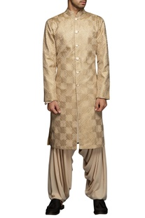 Beige thread embroidered sherwani