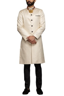 White metallic white sherwani