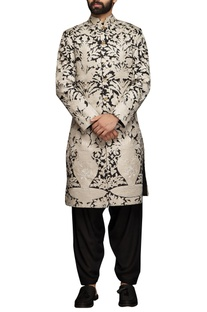 White & black applique embroidered sherwani