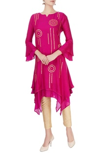 Pink double layered gota kurta