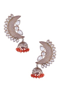 Silver half moon shaped jhumkas