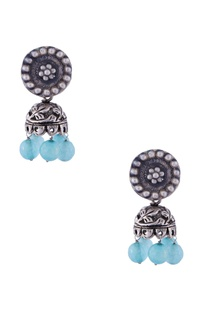 Silver glass bead jhumkas