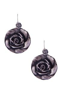 Silver rose shaped flat earrings