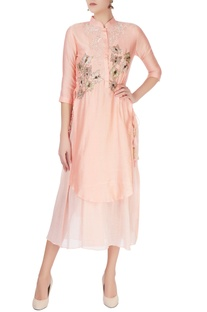 Peach kurta with sequin embroidery