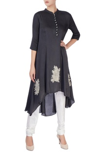 Black kurta with applique embroidery