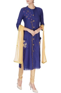 Blue kurta with sequin buttons