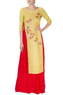 Yellow embroidered georgette kurta