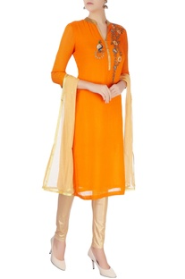Orange chanderi silk kurta set