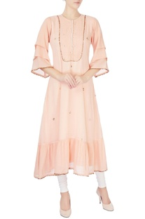 Peach badla work long kurta