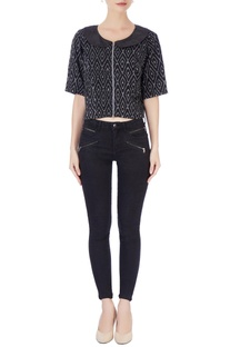 Black & white bib collar blouse