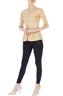 Beige peplum style blouse