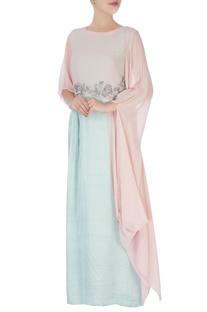 Pastel pink & blue gown & cape