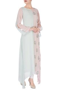 Pastel blue & pink colour block kurti