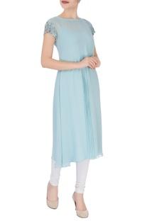 Ice blue embellished tunic