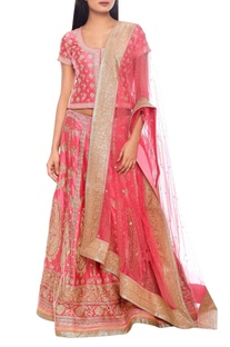 Pink & gold embroidered lehenga set