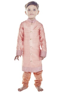 Rusty pink embroidered sherwani