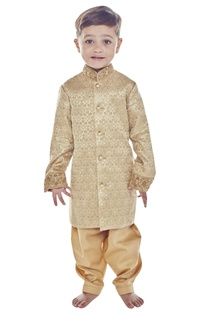 Gold brocade sherwani with embroidered collar