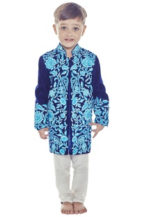 Blue velvet sherwani set