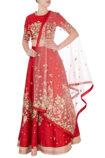 Red sequin embroidered lehenga
