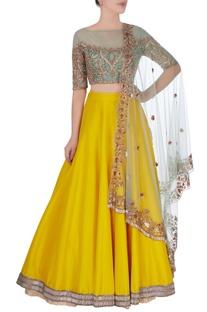 Yellow embroidered lehenga