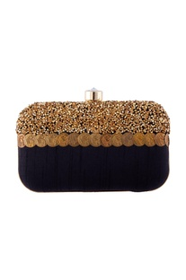 Black artistic fabric box clutch
