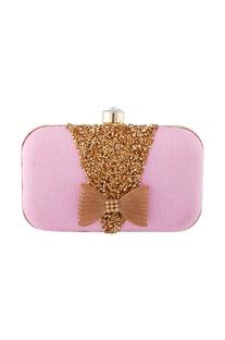 Pink swarovski embellished clutch