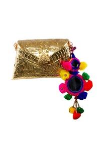 Gold metallic pop-pom clutch