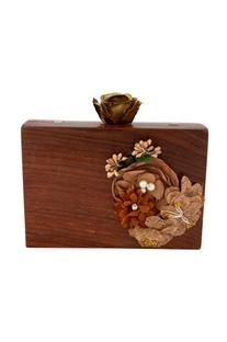 Brown embellished floral clutch